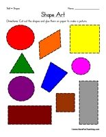 Shape Art Worksheet: Cut out each shape and glue on paper to make a picture.