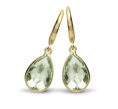Kiki Classic Green Amethyst Pear Drop Earrings - A simple and extremely wearable style, these earrings feature a pear drop green amethyst set in 18ct yellow gold, perfect for adding a touch of colour to the face.