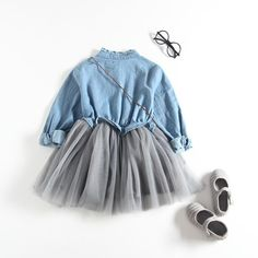 Sagton® Kids Girls Denim Dress Clothes Long Sleeve Tulle Dress Cowboy Outfits Light Blue 4T *** You can find more details by visiting the image link.(It is Amazon affiliate link) #BabyGirlClothingCollection