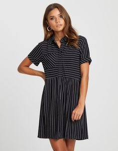 Collar Shirts, Collars, Striped Shirt Dress, Staple Pieces, Cuff Sleeves, Black Stripes, Casual Outfits, Casual Clothes, Fitness Models