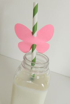 DIY Butterfly Straws 30 Paper Straws with 30 Butterfly pieces Birthday Garden Fairy Party Baby Shower Tea. $7.00, via Etsy.