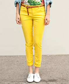 Bright skinny twill pants... $15.80 and so many colors! Forever 21!