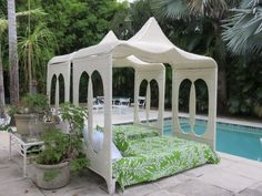 Pair Of Antique Mid-Century Modern Moroccan Cabana Daybeds With Covered Pagoda Canopies Available At Florida Modern West Palm Beach Florida. by FloridaModern on Etsy https://www.etsy.com/listing/470270759/pair-of-antique-mid-century-modern