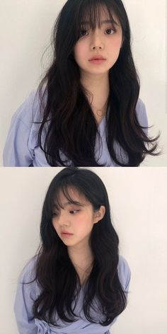 Shot Hair Styles, Long Hair Styles, Layered Haircuts With Bangs, Brown Hair Shades, Hair Upstyles, Hair Reference, Long Wavy Hair, Permed Hairstyles, Asian Hair