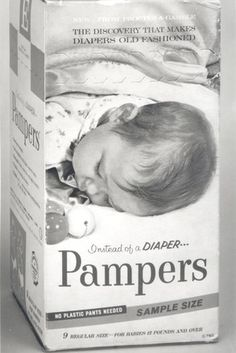 "1960's ad for the newly invented Pampers. ""Instead of a Diaper...Pampers. No plastic pants needed!"""