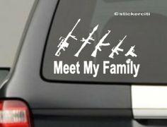 My Big Gun Family Decal Stick Figures Funny Car Window bumper Vinyl Sticker Family Stickers, Truck Stickers, Bumper Stickers, Car Decals, Wendy Davis, Gun Humor, Texas Governor, Zombie Hunter, Big Guns