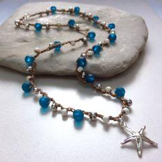 Boho ketting waterkristallen donkerblauw door BlueRockJewellery