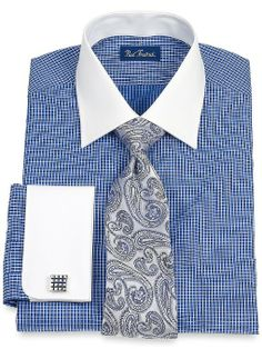 Amazon.com: Paul Fredrick Men's Satin Check Windsor Collar French Cuff Dress: Clothing