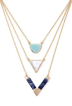 Layered Marbled Stone Necklace | Forever 21 - 1000151858