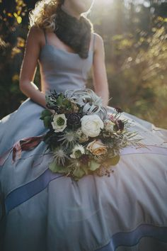 blue wedding dress + eclectic bouquet // photo by With Love and Embers // flowers by Sullivan Owen