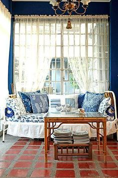 Carnation, Rustic Design, New Homes, Blue And White, Design Inspiration, Windows, Curtains, House, Furniture