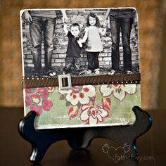 mod podge photos onto tile