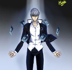 I tried making him look evil with the yellow tinted eyes but it didn't turn out exactly how I wanted it to look. Yu Narukami, Persona 4, Fanart, Deviantart, Anime, Fan Art, Cartoon Movies, Anime Music, Animation