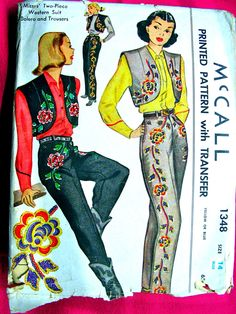 UNCUT 1940s Ladies' Two-Piece Western Suit Swagger by anne8865