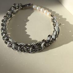 f8a8f6b9e848cf Black Diamond Swarovski Crystal, Light Gray Silk Code, Silver Plated Chain,  and Pearlcent White Swarovski Pearls Bracelet