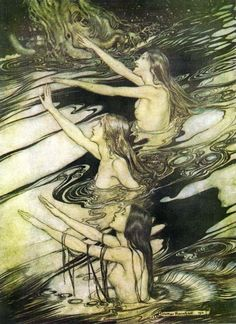 ARTHUR RACKHAM, published before 1923. The Scandinavian näcken, näkki, nøkk, nøkken, strömkarl,[5] Grim or Fosse-Grim were male water spirits who played enchanted songs on the violin, luring women and children to drown in lakes or streams. However, not all of these spirits were necessarily malevolent; in fact, many stories exist that indicate at the very least that nøkken were entirely harmless to their audience and attracted not only women and children, but men as well with their sweet…