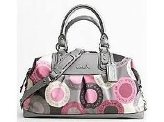 pink and gray coach purse