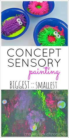 Concept Sensory Painting exploring biggest :: smallest with squishy monster rings and paint by Crayon Box Chronicles (contributor post – All For The Boys Sensory Art, Sensory Activities, Activities For Kids, Morning Activities, Autism Activities, Sensory Table, Attention Autism, Pay Attention, Art For Kids