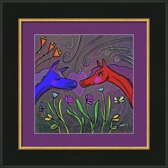 Red Blue Framed Print featuring the digital art Forbidden Love - Blue Red Horses by Marti McGinnis