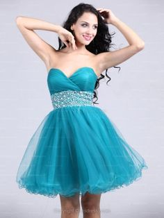 A-line Sweetheart Tulle Short/Mini Blue Rhinestone Homecoming Dress at Msdressy