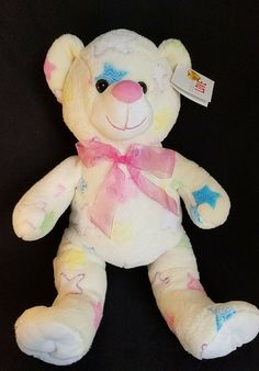 Teddy Bear Plush Stuffed Animal Cream Pink Star Bow Baby Girl Dan Dee for sale online Pink Stars, Baby Nursery Decor, Plush Animals, Baby Bows, Star Print, Gifts For Girls, Dan, Baby Shower, Cream
