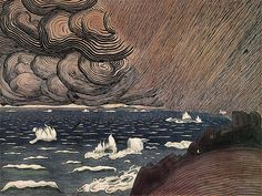 Harald Sohlberg (Norway 1869-1935) Sea Spray (1908) pen and ink and watercolor on paper 39 x 52.5 cm