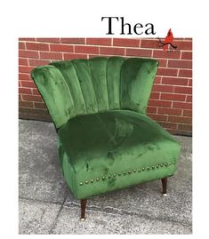 """Meet Thea! This beautifully restored vintage chair is ready for a new abode. The emerald green velvet is perfect to display the plump shell-like channels on the back and deep seat. Piping, pleats and brass decorative nails add fresh points of interests throughout. Let us know if you want this gem for yourself!  27.75"""" H, 31"""" W, 30.5"""" D $365 Vintage Chairs, Green Velvet, Emerald Green, Gem, Restoration, Shell, Channel, Brass, Let It Be"""