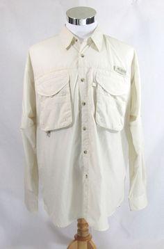 Columbia PFG Vented Long Sleeve 100% Nylon Ivory Men's Medium Fishing Shirt #Columbia #VentedFishingShirt