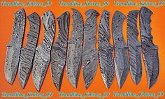 LOT OF(10 PICS) DAMASCUS CUSTOM HAND MADE HUNTING KNIFE BLANK BLADES. #BestSteelWarrior