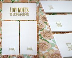 """Love Notes for the Bride and Groom - Gold """"Love,"""" - Letterpress Wedding Guest Book Alternative classy elegant guest cards. I could have it say advise, I could also do a puzzle finger prints Wedding Gifts For Bride And Groom, Bride Gifts, Bride Groom, Trendy Wedding, Diy Wedding, Wedding Ideas, Wedding Stuff, Wedding Notes, Spring Wedding"""