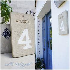 Hausnummer aus Beton - mit Anleitung/with photo instructions.