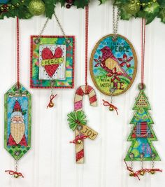 """Jingle Bell Ornaments Counted Cross Stitch Kit-8-1/4""""X11"""" 14 Count Set Of 5"""
