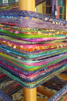 OOOooh lala! I love these wild warps! This one by Barefootweaver!