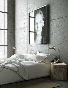 Industrial Modern Bedrooms | Simple white bedding, concrete walls, a sophisticated tree stump nightstand | via @Abigail Phillips Phillips Booten