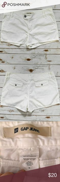 "GAP Jeans White Shorts GAP Jeans White Shorts  Size 16 in great used condition. 20"" waist and 2.5"" inseam. Please let me know if you have any questions. I ship the same day as long as the post office is still open. Have a great day, thanks for checking out my closet and happy poshing! GAP Shorts"