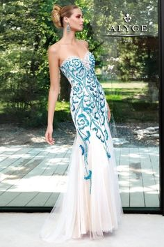 Alyce Paris Prom Dress 6027 - Beaded tulle, long mermaid, slight train with jeweled neckline. Prom, special occasion and pageant. Matric Dance Dresses, Mermaid Prom Dresses, Pageant Dresses, Homecoming Dresses, Grad Dresses, Paris Dresses, Prom Outfits, Mermaid Skirt, Mermaid Gown