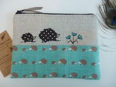 Handmade Cosmetic Makeup Bag Purse Hedgehog Applique Design Fabric Gift Linen on Etsy, £13.49