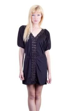 S. Line Studs Detail Ties At Waist Slinky Soft Fabric Blousy Fit Short Dress Black …, style-smilez.tumb... , Pinned by pinterest.com/...