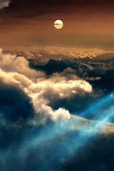 ~ sky view of a full moon over the clouds ~