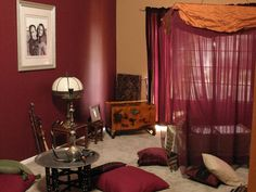 Modern Moroccan Living Room With Classic Lighting: Wonderful Moroccan Living Room Maroon Red Curtain Arts Design Ideas ~ utasce.org Living Room Designs Inspiration