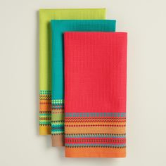 Bring a southwestern flair to your kitchen with these absorbent waffle-weave dish towels in vibrant shades of turquoise, lime green and coral, each with a broad rim of embroidered stripes. Kitchen Linens, Kitchen Towels, Lime Green Kitchen, Shades Of Turquoise, Coral, Swedish Weaving, Twelfth Night, Kitchen Colors, Dish Towels
