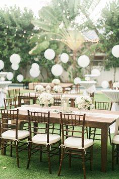 Hawaii Backyard Wedding. Wedding Reception Dinner Table. Hawaiian Wedding Decorations. Photo by: Rebecca Arthurs.