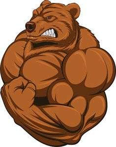 Illustration of Vector illustration of a strong bear with big biceps vector art, clipart and stock vectors. Arte Furry, Furry Art, Cartoon Kunst, Cartoon Art, Vector Graphics, Vector Art, Art Clipart, Bulldogge Tattoo, Strongest Animal
