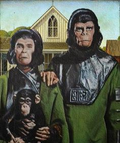 Planet of the Apes Gothic American Gothic Painting, American Gothic Parody, Grant Wood, Deviant Art, Iowa, Famous Artwork, Nostalgia, Planet Of The Apes, Weird Art