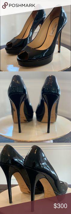 65fcdcff085 Jimmy Choo Patent Black Leather Peep toe Heels Jimmy Choo Patent Black  Leather Peep toe Heels