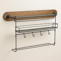 Modular Kitchen Wall Storage Spice Rack with Cup Hooks | World Market