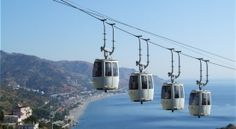 Taormina Cable Cars, Public Transportation in Sicily, Italy. Tourist information for travelers to Sicily Cefalu Sicily, Taormina Sicily, Beautiful Vacation Spots, Italy Tours, Italy Trip, Palermo Sicily, Southern Italy, Sicily Italy, Catania