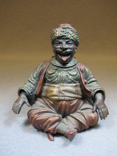 Antique Orientalist mechanical Cold painted bronze