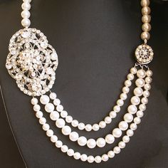 Art Deco Bridal Necklace Vintage Style Wedding by luxedeluxe, $138.00