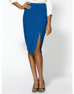 can't go wrong with a pencil skirt.  would most likely sew up a couple inches of the slit.